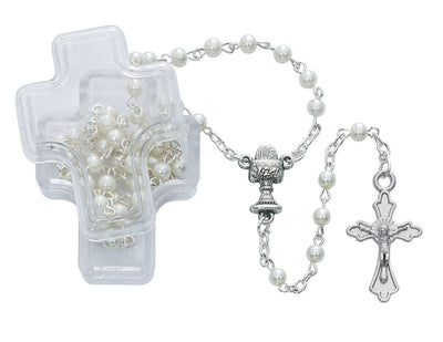 White Pearl Communion Rosary (4MM)