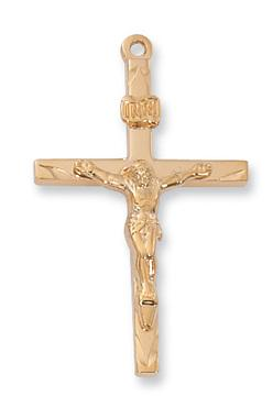 "18KT. Gold on Sterling  Silver Crucifix  (1 6/16"") on 24"" Gold Plated Chain.(J8086)"