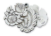 "Sterling Silver Miraculous Rose Bud Medal (1"") on 24"" chain.(LM48) - Unique Catholic Gifts"