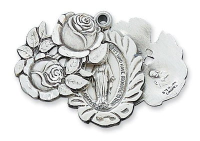 Sterling Silver Miraculous Rose Bud Medal (1