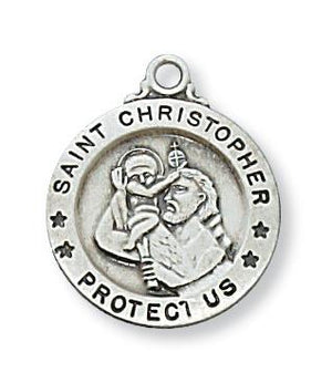 "Sterling Silver St. Christopher Medal (5/8"") on 18"" Chain - Unique Catholic Gifts"
