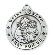 "(L575JS) Sterling Silver St. Joseph Medal 24"" - Unique Catholic Gifts"