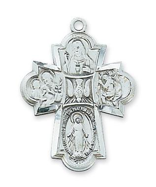 Sterling Silver 4-way Medal Cross (1-1/4