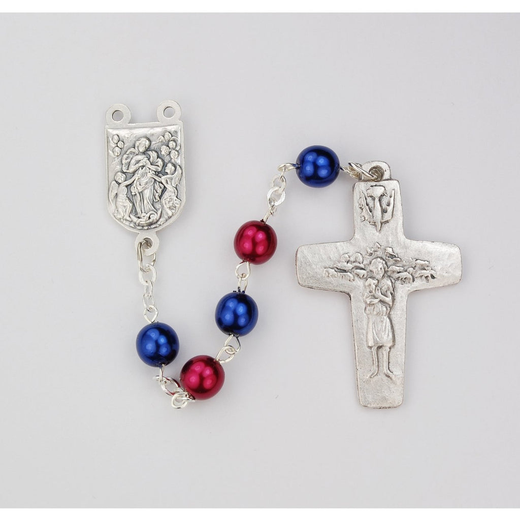 Blue and Red Our Lady of  Undoer of Knots Rosary - Unique Catholic Gifts
