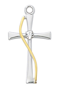 Gold and Sterling Silver Cross with Crystal Stone (1