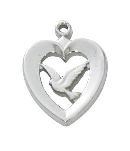 Sterling Silver Heart with Dove (1/2