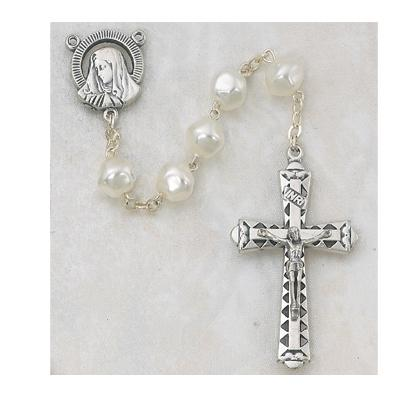 "8MM Pearl Rosary 20"" with Silver OX Crucifix and Center. (441R)"