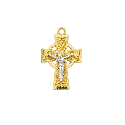 Gold (18k) on Sterling Silver Tutone Celtic Crucifix on 18