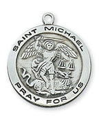 "Sterling Silver St Michael  Medal (3/4"") on 18"" Chain (L515MK)"