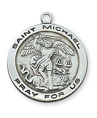 St. Michael Sterling Silver Medal (3/4