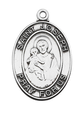 (L684JS) Sterling Silver SML St. Joseph Medal - Unique Catholic Gifts