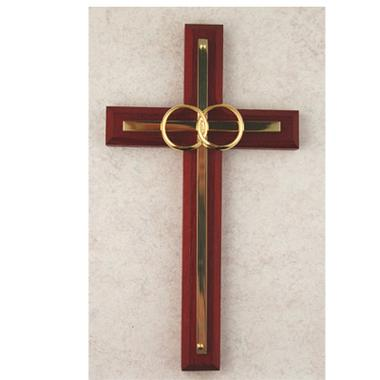 Cherry Wood Wedding Cross (6 1/2