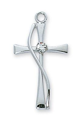 "Sterling Silver Cross with Stone (7/8"") on 18"" chain - Unique Catholic Gifts"