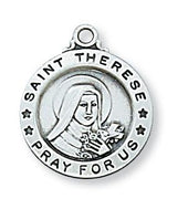 "Sterling Silver St Therese Medal (5/8"") on 18 chain. Patron saint of Missionariesl (5/8"") on 18 chain. Patron saint of Missionaries (L700TF)"