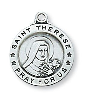 Sterling Silver St Therese Medal (5/8