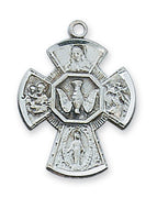 "(LMG5S) Sterling Silver 4-way Medal 18"" Chain and Box - Unique Catholic Gifts"