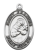 "Sterling Silver St Francis of Assisi( 1 1/16"" on 24"" chain - Unique Catholic Gifts"