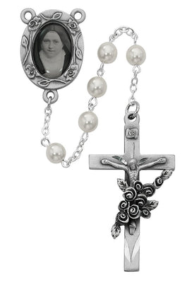 Pearl Saint Therese of Lisieux Rosary (6mm) - Unique Catholic Gifts