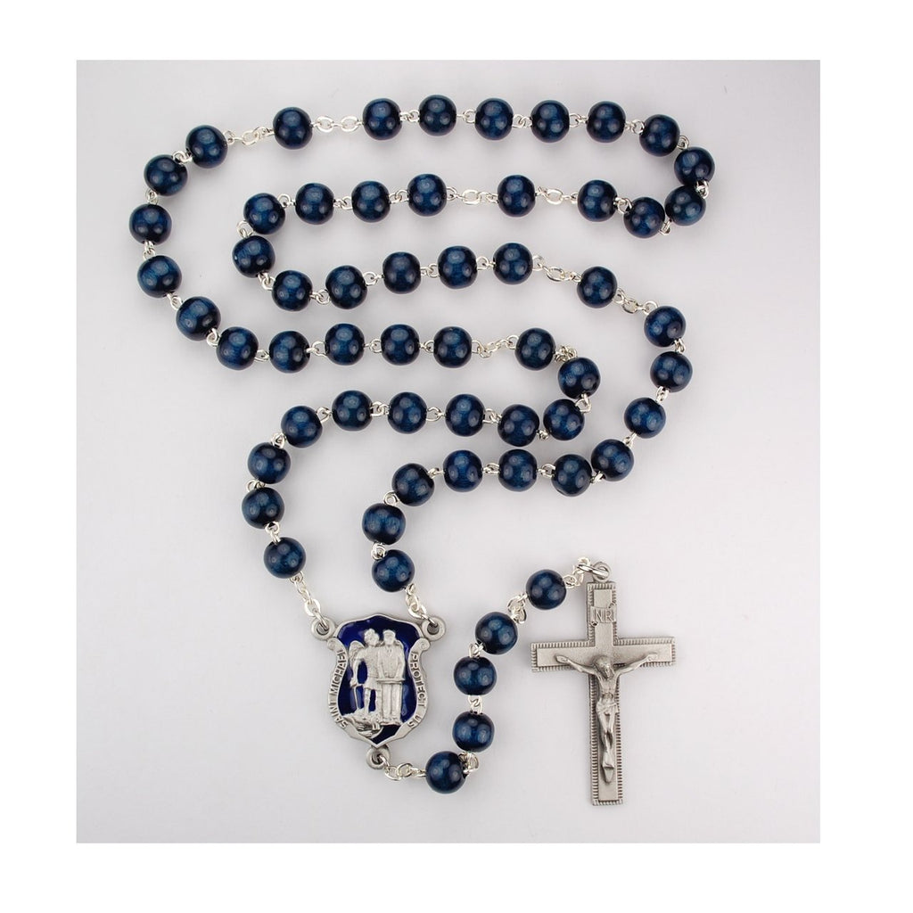 Blue Wood Police Rosary (8mm)