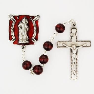 Red Wood Firefighter Rosary (8mm) - Unique Catholic Gifts