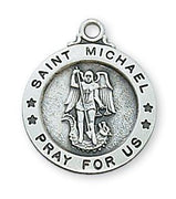 "Sterling Silver St. Michael Medal (5/8"") on 18"" chain (L700MK) - Unique Catholic Gifts"