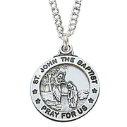 "St John the Baptist Medal Sterling Silver 3/4"" - Unique Catholic Gifts"