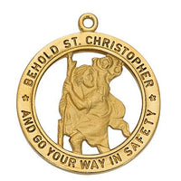 "Gold over Sterling Silver St Christopher Medal (1"") on 24"" Gold Plated chain.(J2514) - Unique Catholic Gifts"