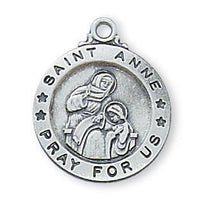 "Sterling Silver St Anne Medal (5/8"") on 18 chain. Patron Saint of Mothers and Women in Labor - Unique Catholic Gifts"
