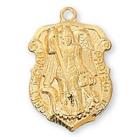 Gold over Sterling Silver St. Michael Shield Medal - Unique Catholic Gifts