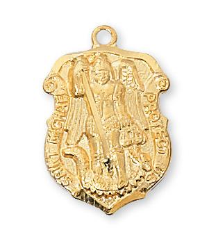 Gold over Sterling Silver St. Michael Shield Medal