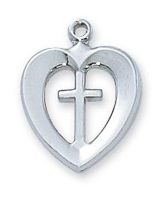 "Sterling Silver Heart and Cross (1/2"") on 18 ""chain (L419) - Unique Catholic Gifts"