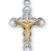 "Sterling Silvr Crucifix (5/8"") on 16"" chain - Unique Catholic Gifts"