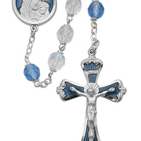 7mm Light Blue Rosary with Deluxe Blue Enamel Cross and Center Piece (775r/f)