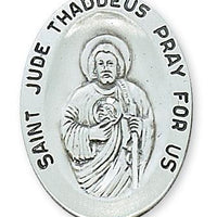"Sterling Silver St Jude Medal (1 1/8"") on 24"" chain. (L336JU) - Unique Catholic Gifts"