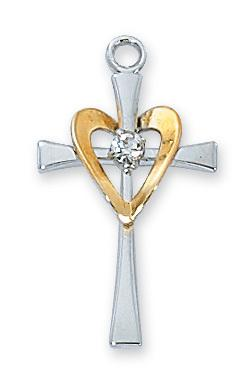 Sterling Silver Cross with Gold Heart and Center Stone (1