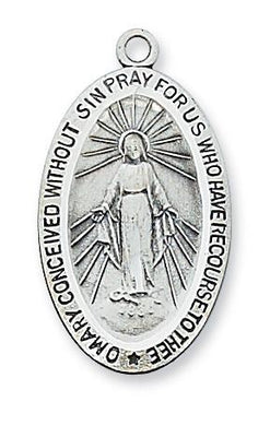 Sterling Silver Miraculous Medal 1 1/16