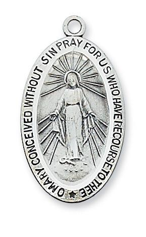 "Sterling Silver Miraculous Medal 1 1/16"" - Unique Catholic Gifts"