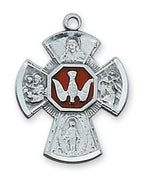 "Sterling Silver Enameled 4-way Medal (7/8"") on 18"" chain (LMG5ES) - Unique Catholic Gifts"