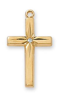 "Gold over Sterling Silver Cross with Cubic Zurconia (13/16"") on 18"" Gold plated chain - Unique Catholic Gifts"