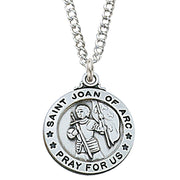 "(L600joa) Sterling Silver St. Joan of Arc 20"" Chain & Box - Unique Catholic Gifts"