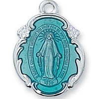 "Miraculous Medal Sterling Silver with Blue Enamel  3/4"" X 1/2"" - Unique Catholic Gifts"