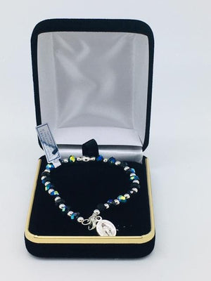 Aurora Borealis and Silver Bead Rosary Bracelet with Miraculous Medal