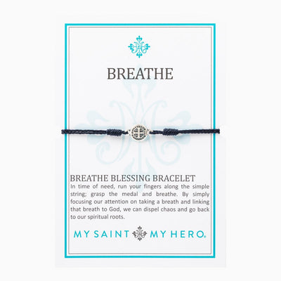 Breathe Blessing Bracelet Silver Benedictine Medal on Black Cord - Unique Catholic Gifts