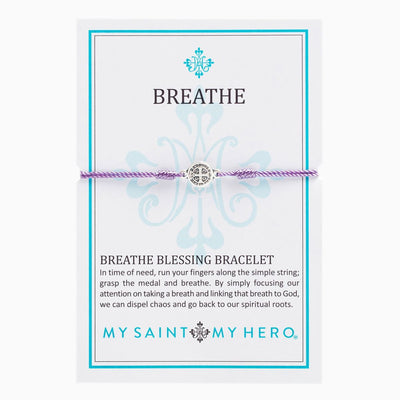 Breathe Blessing Bracelet Silver Medal on Purple Cord