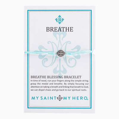 Breathe Blessing Bracelet Silver Medal on Mint Cord