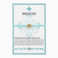 Breathe Blessing Bracelet Gold  Medal on Turquoise Cord