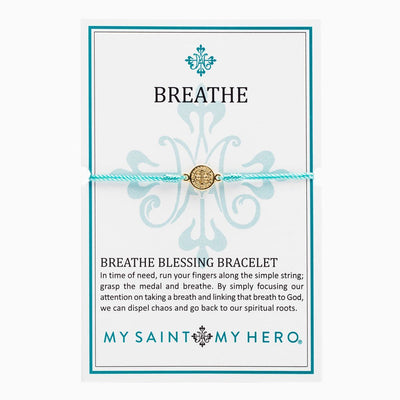 Breathe Blessing Bracelet Gold  Medal on Mint Cord