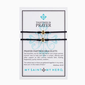 Prayer Partner Bracelets Gold Cross on Black Cord - Unique Catholic Gifts