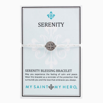 Serenity Blessing Bracelet Silver Medal on Metallic Silver Cord - Unique Catholic Gifts