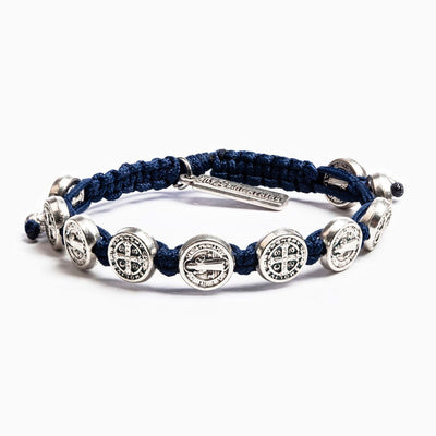 Benedictine Blessing Bracelet Silver Medal on Navy Cord